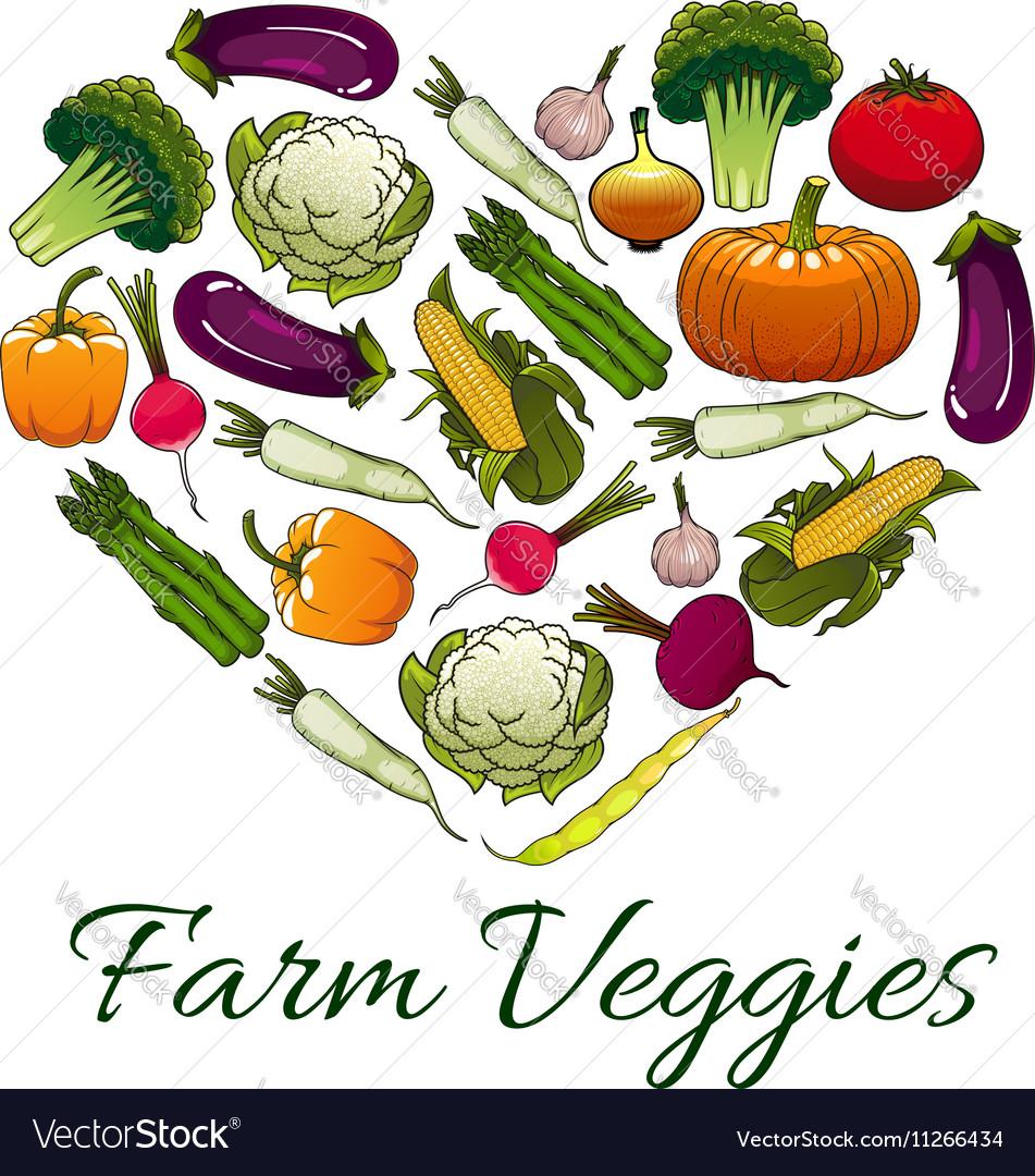 Farm veggies emblem in shape of heart vector image