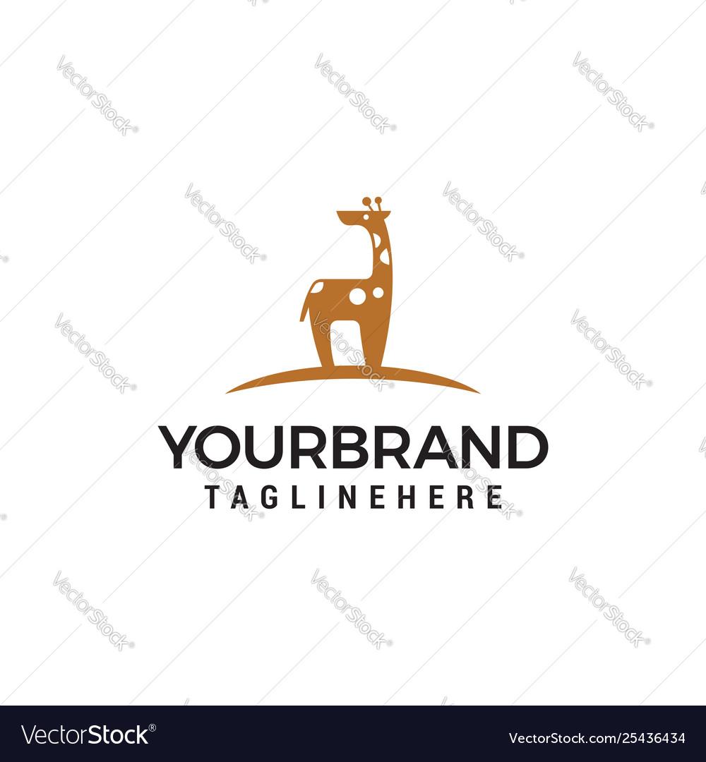 Giraffe cute logo design concept template