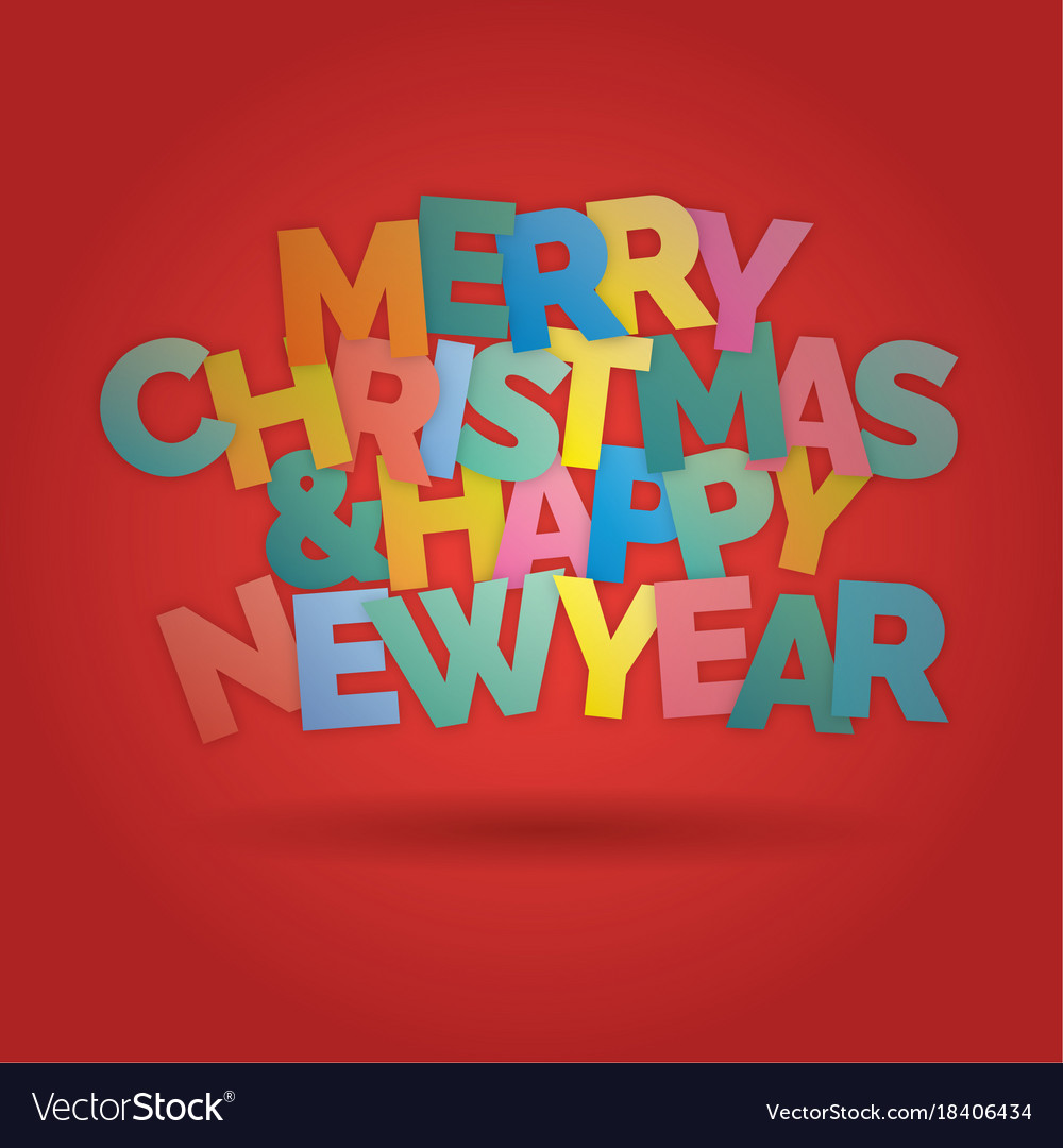 Merry christmas and happy new year colorful vector image