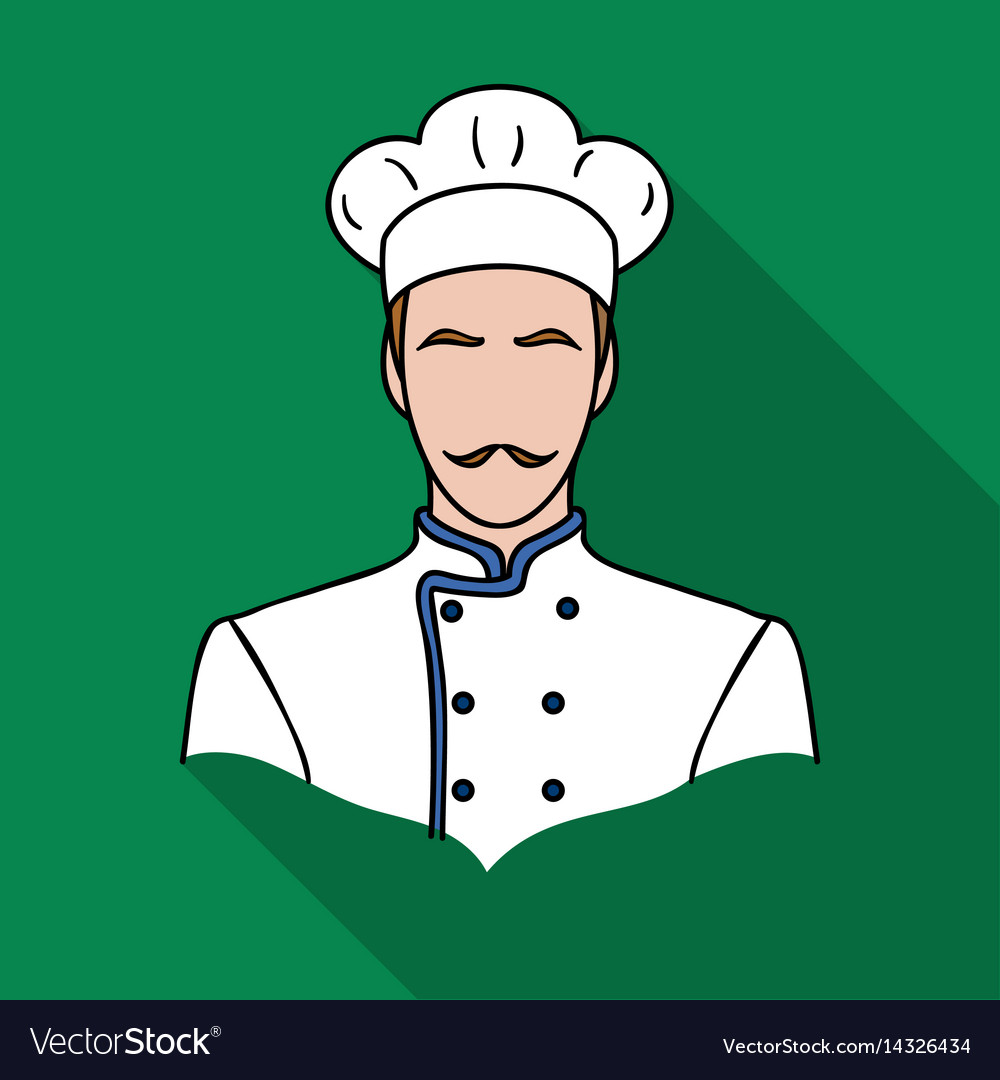Restaurant chef icon in flat style isolated on