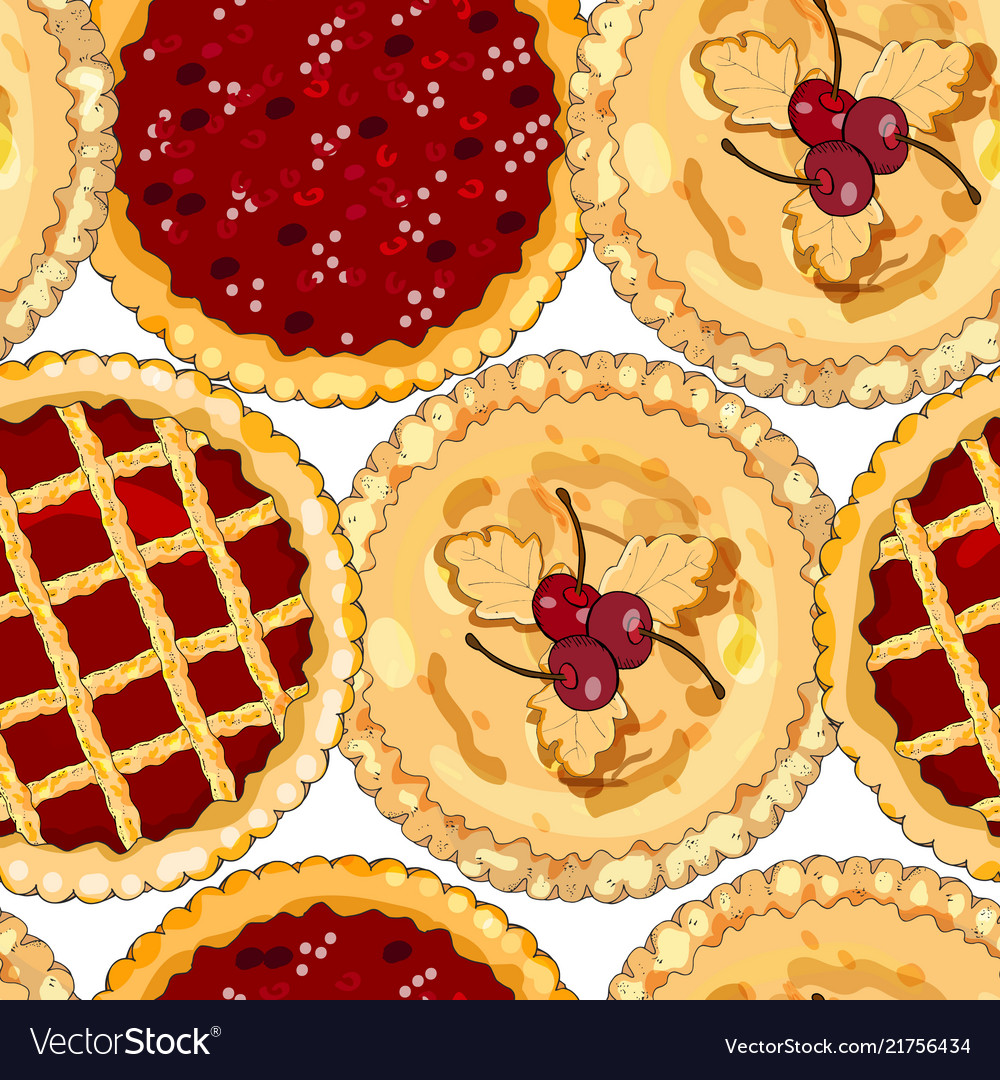Seamless pattern with cherry pies the theme of