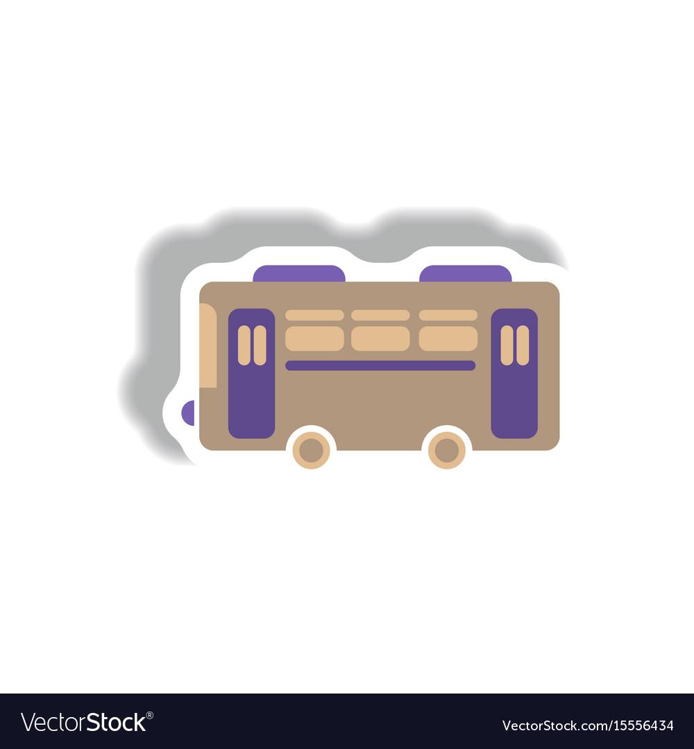Stylish icon in paper sticker style retro bus vector image