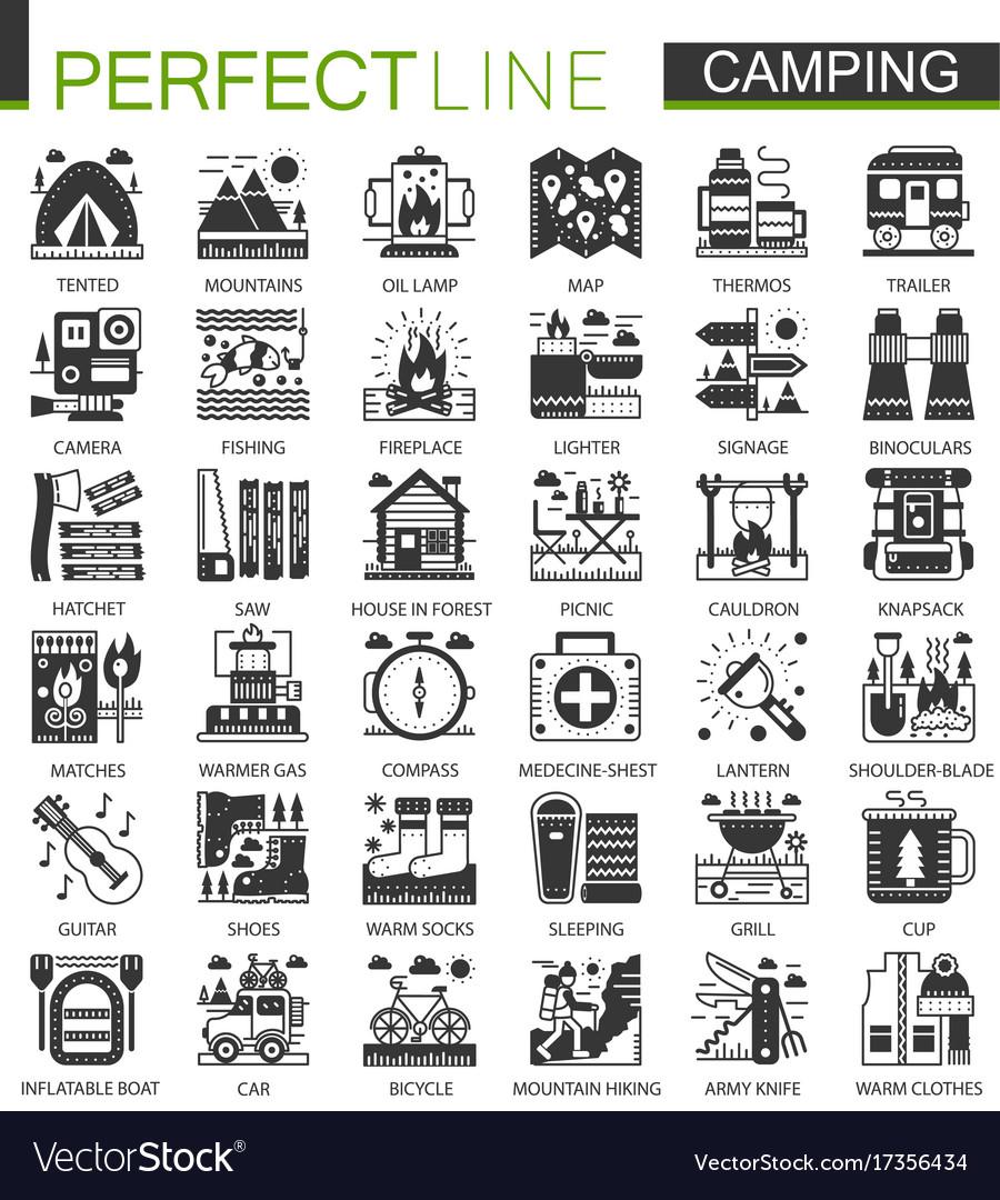 Summer camping classic black mini concept symbols