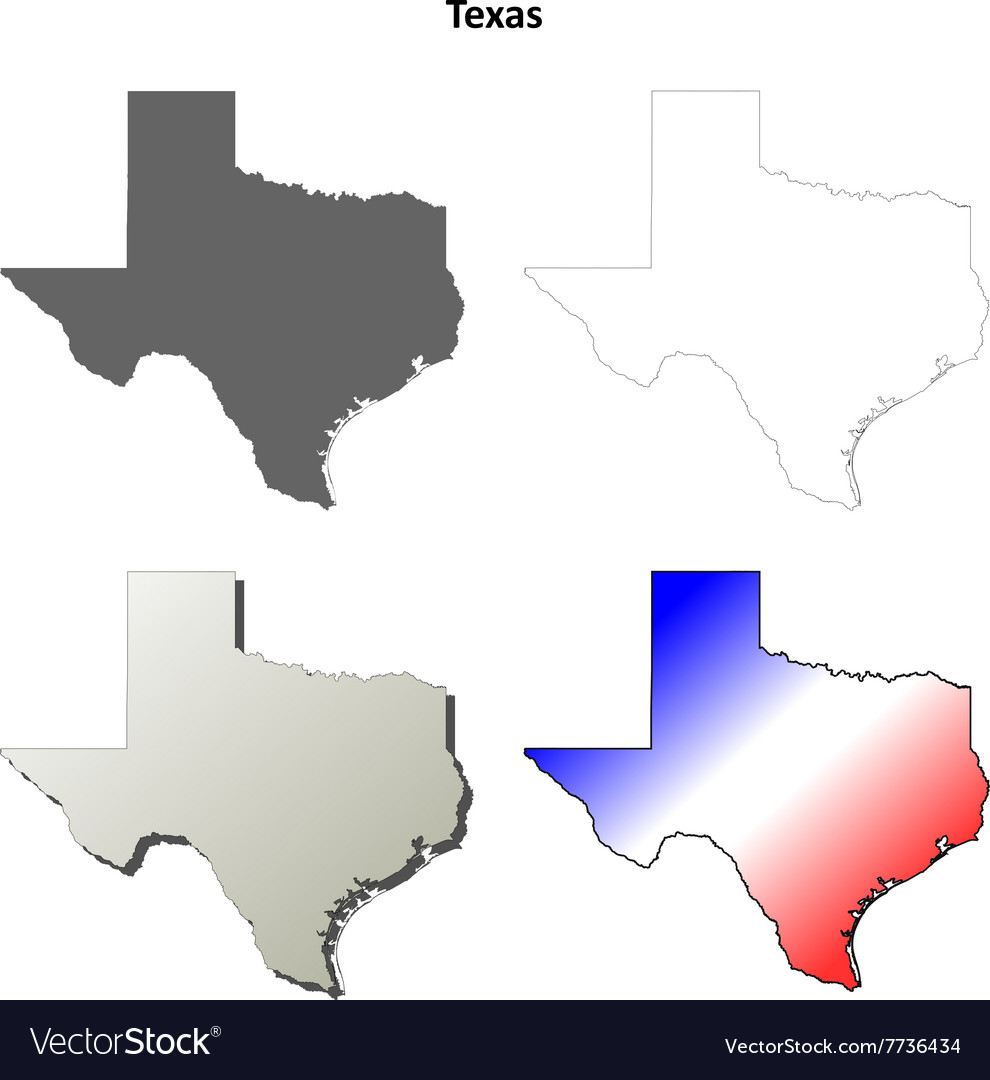 Texas outline map set vector image