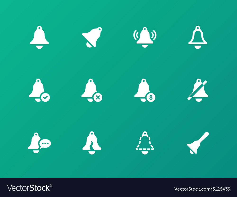 Alarm bell icons on green background vector image