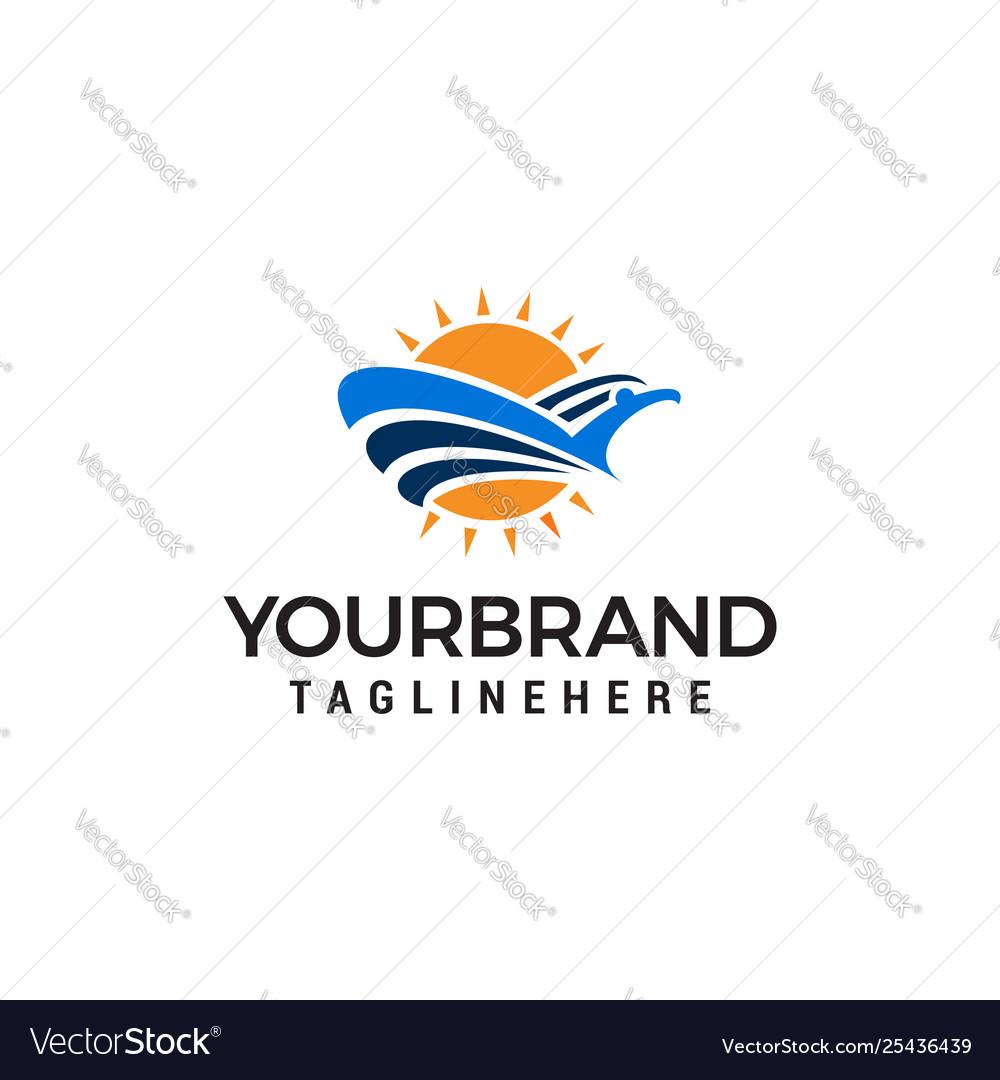 Bird and sun logo design concept template