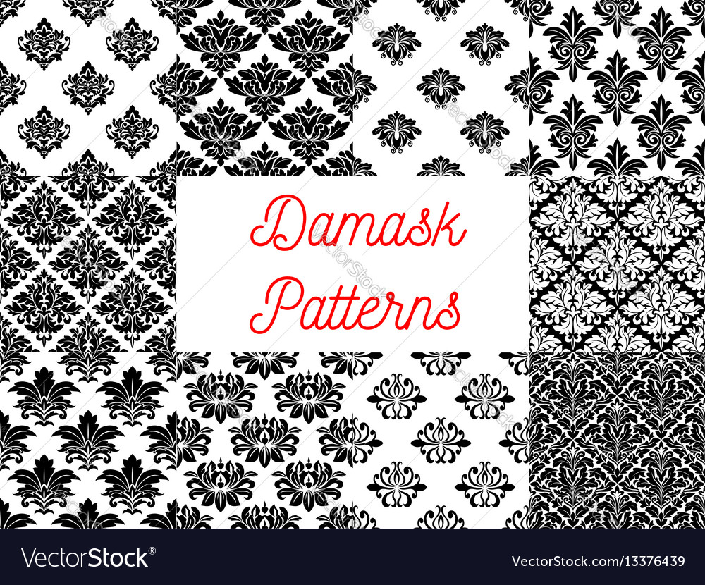 Damask floral ornate patterns set