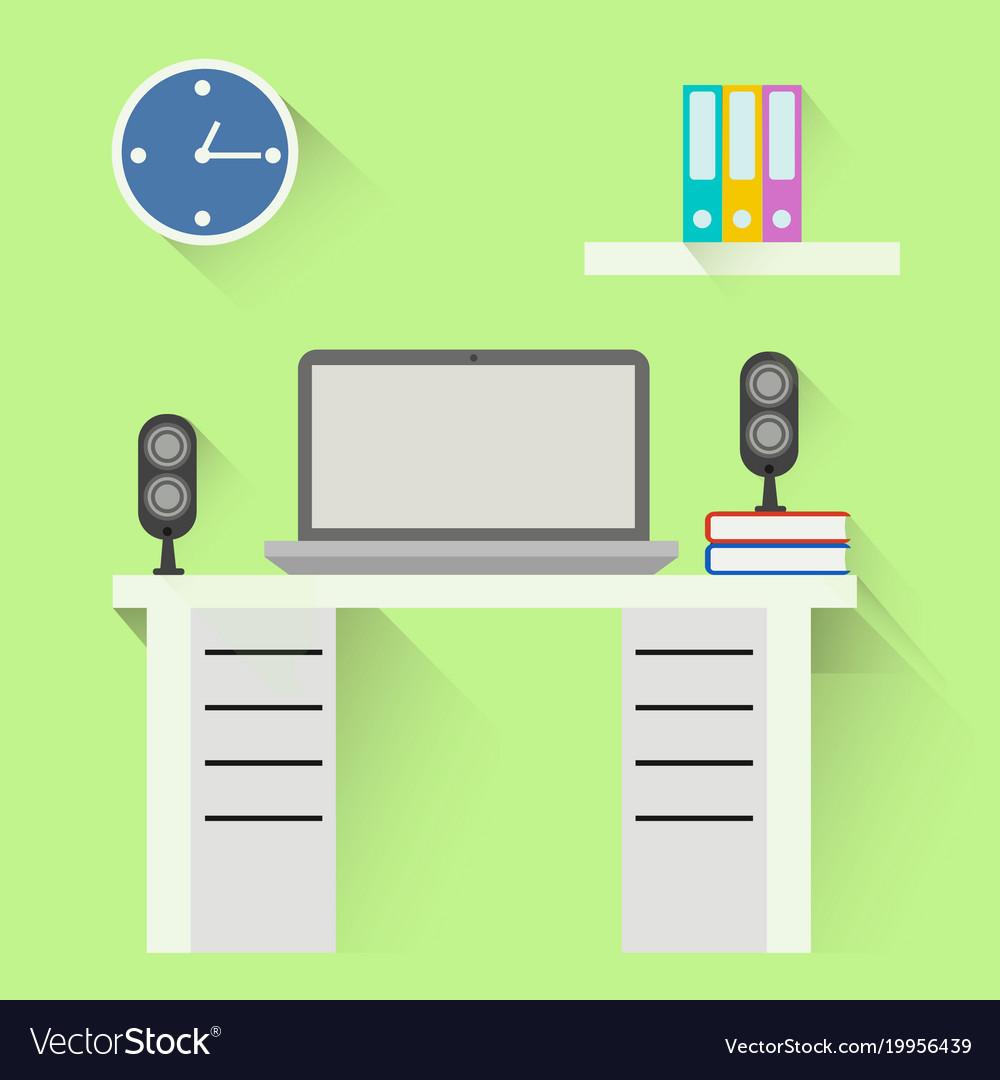 Desktop flat design office interior