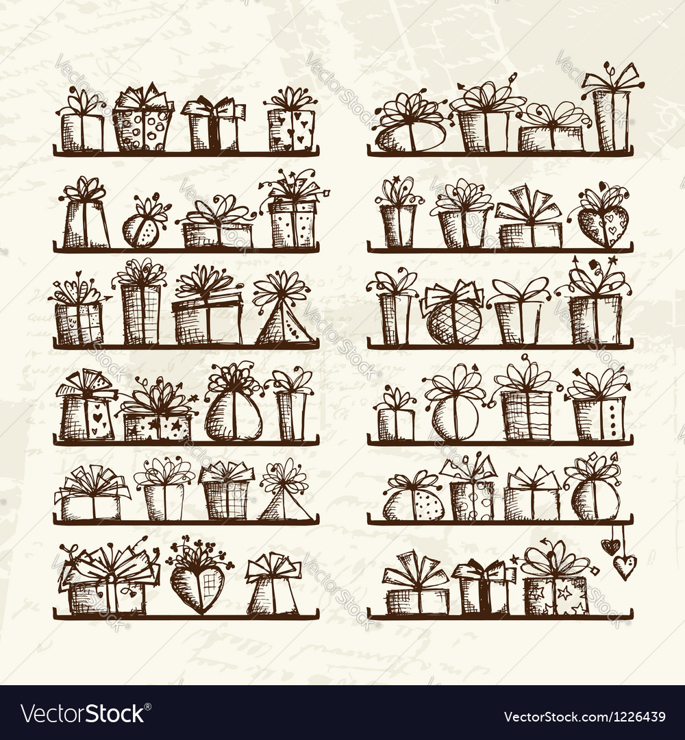 Gift boxes on shelves sketch drawing for your