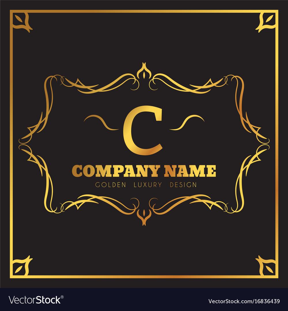 Golden logo template elegant flourishes