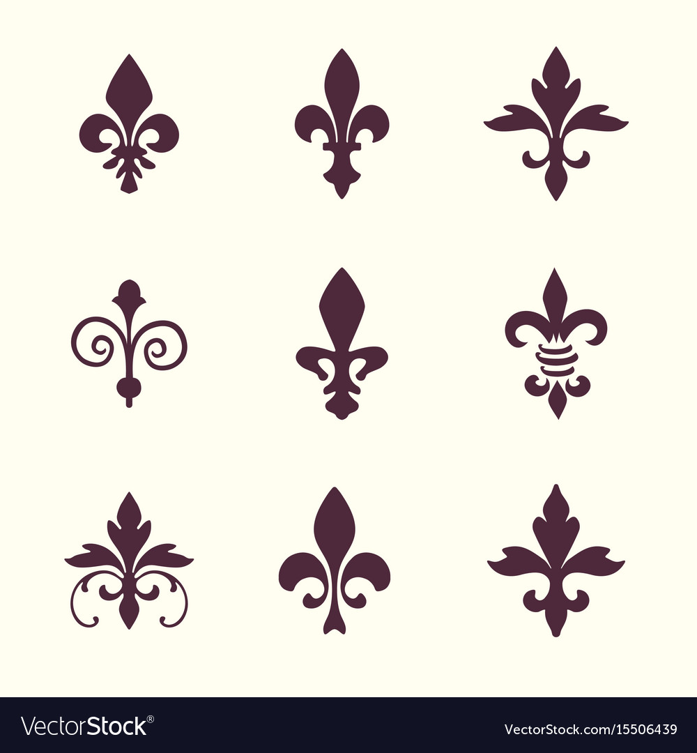 Heraldic symbols fleur de lis set