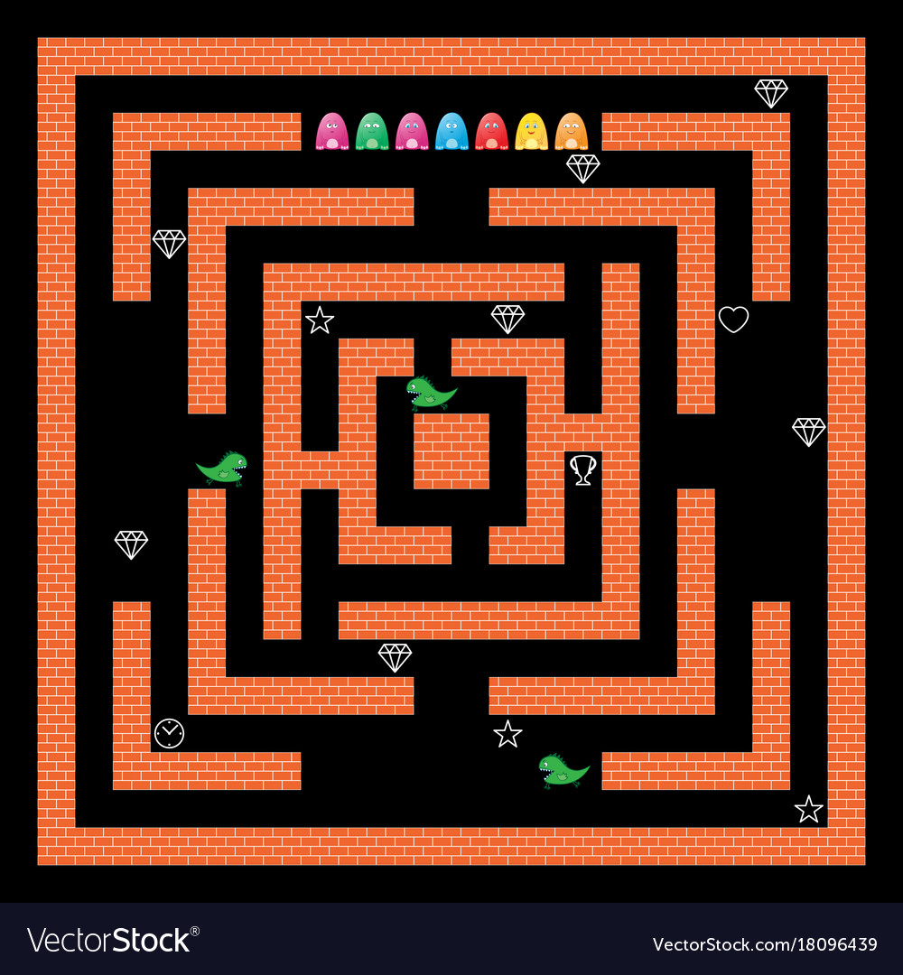 monsters maze game design royalty free vector image