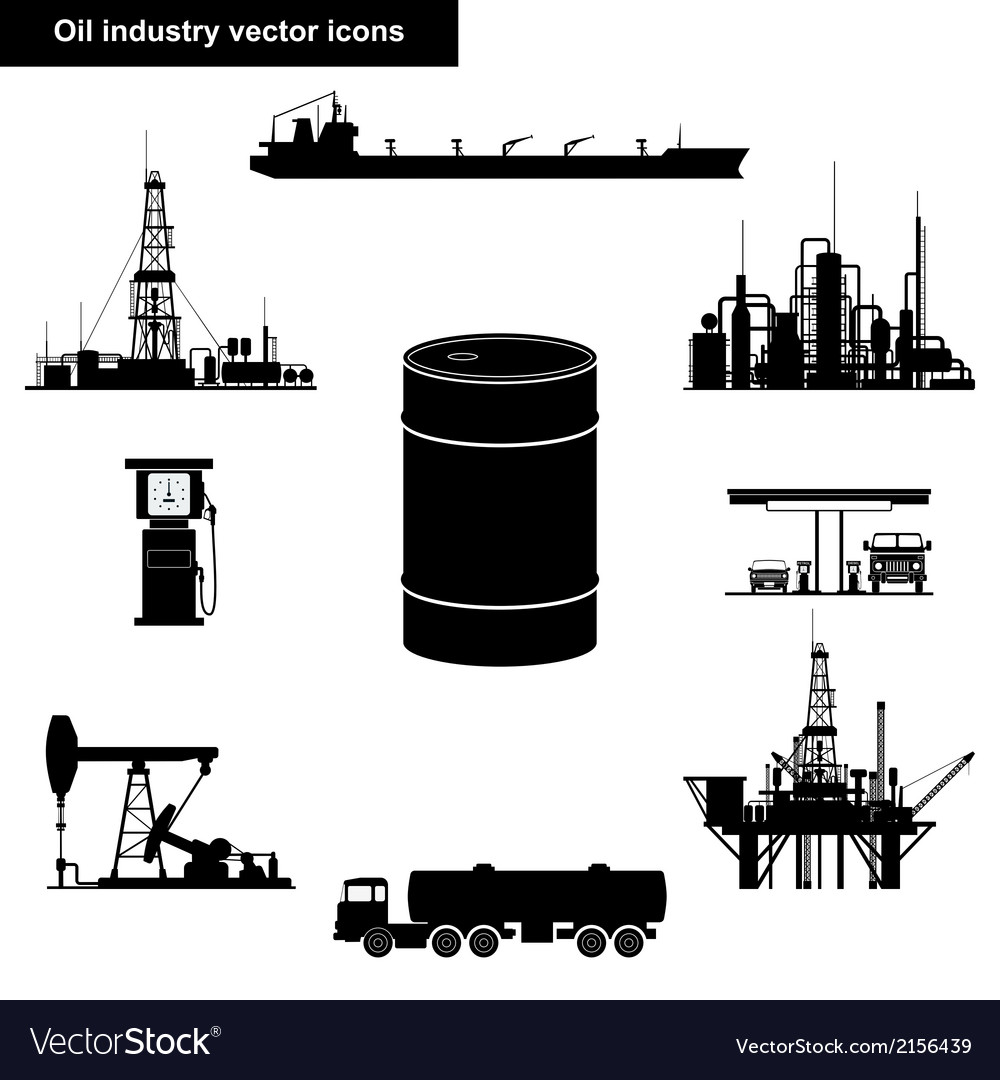 Oil and gas industry black icons