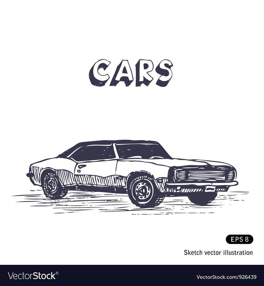 Old muscle car Royalty Free Vector Image - VectorStock
