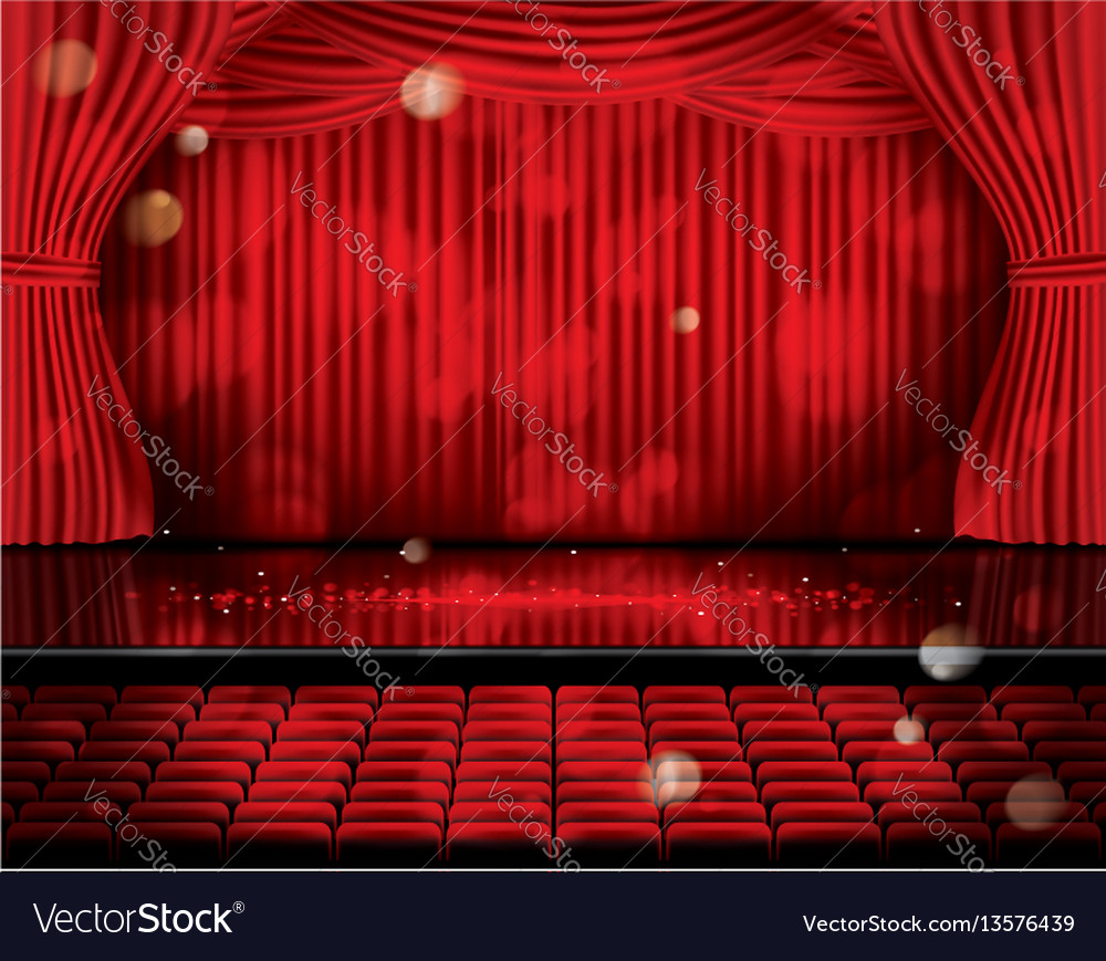 Open red curtains with seats and copy space