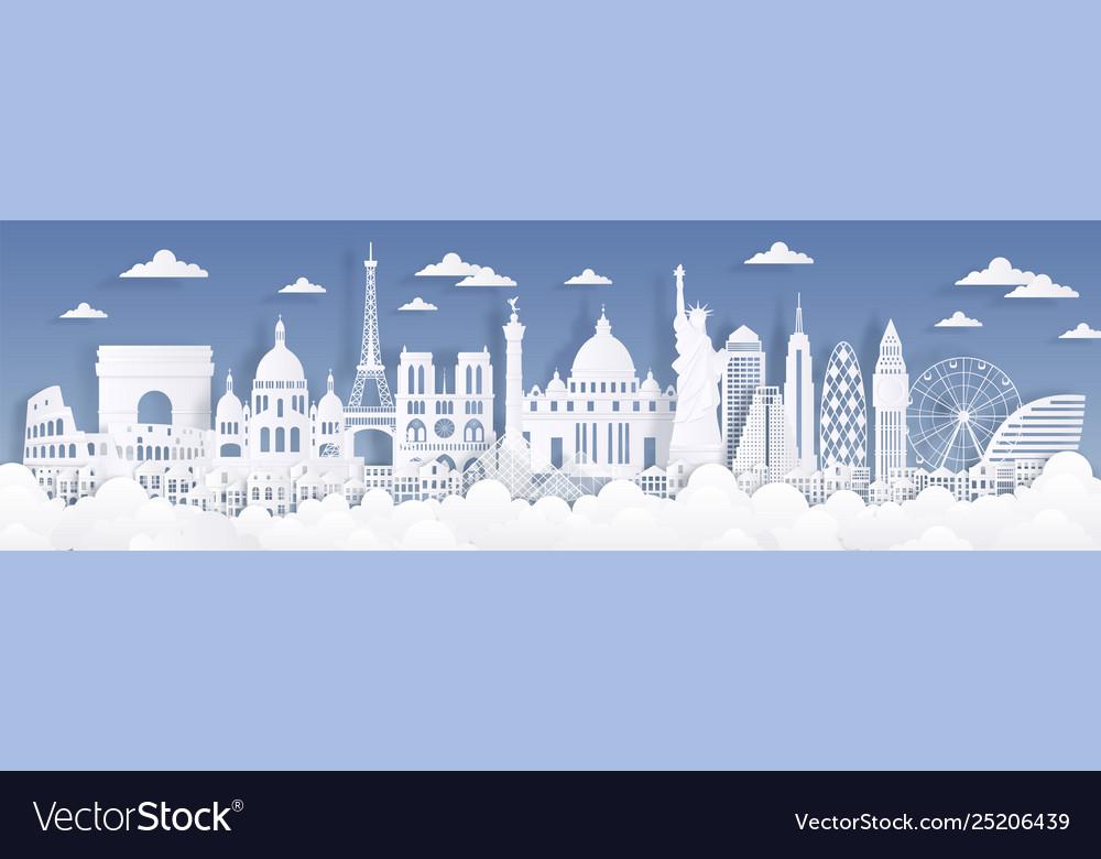 Paper cut landmarks travel world background