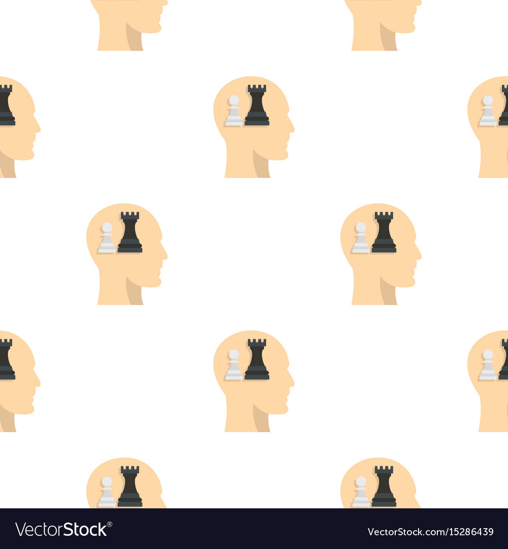 Queen and pawn chess inside human head pattern vector image