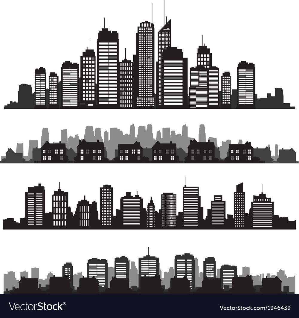 Set of cities silhouette and buildings