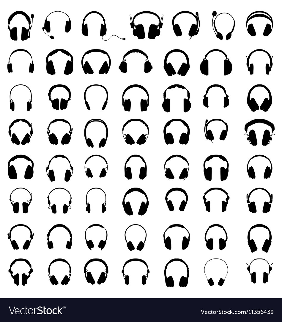 Silhouettes of headphones vector image