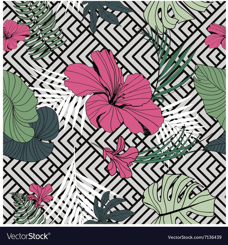 Tropical seamless pattern geometric black