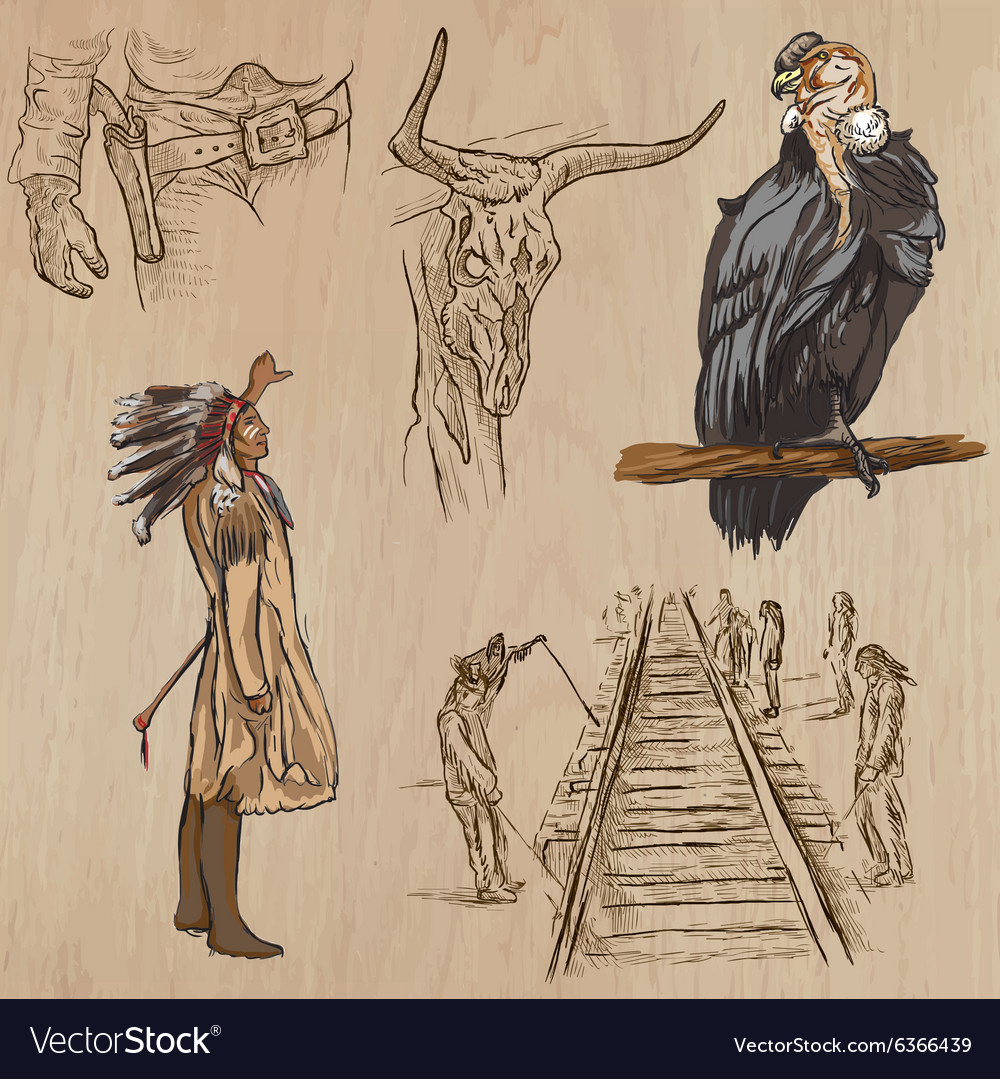 Wild West - Hand drawn pack vector image