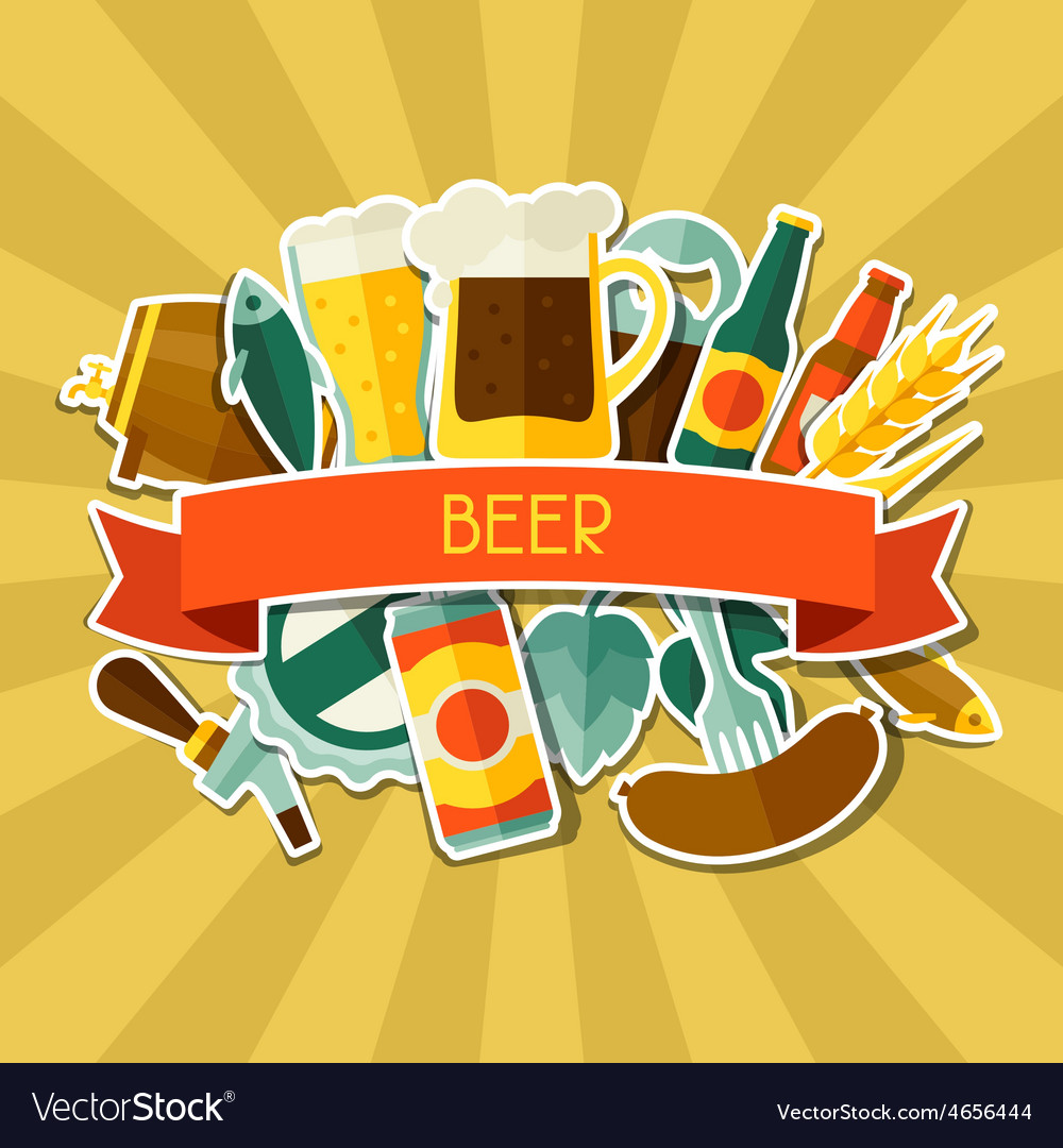 Background design with beer sticker icons and