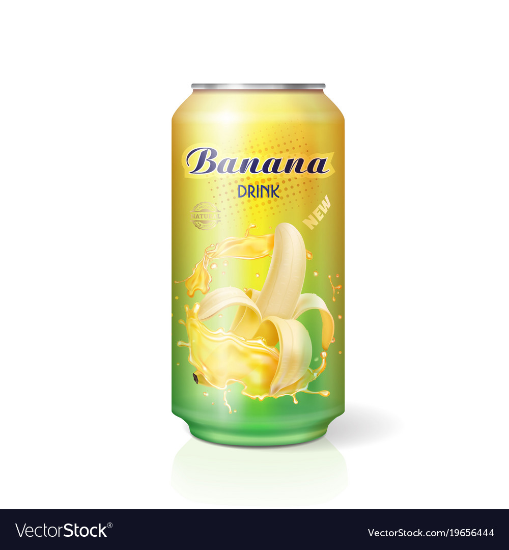 Banana juice drink in aluminum can realistic