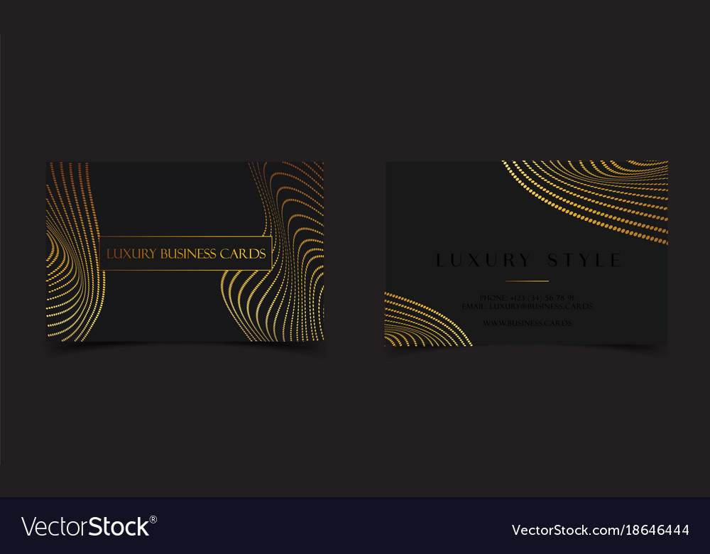 Black gold luxury business cards for vip event vector image colourmoves