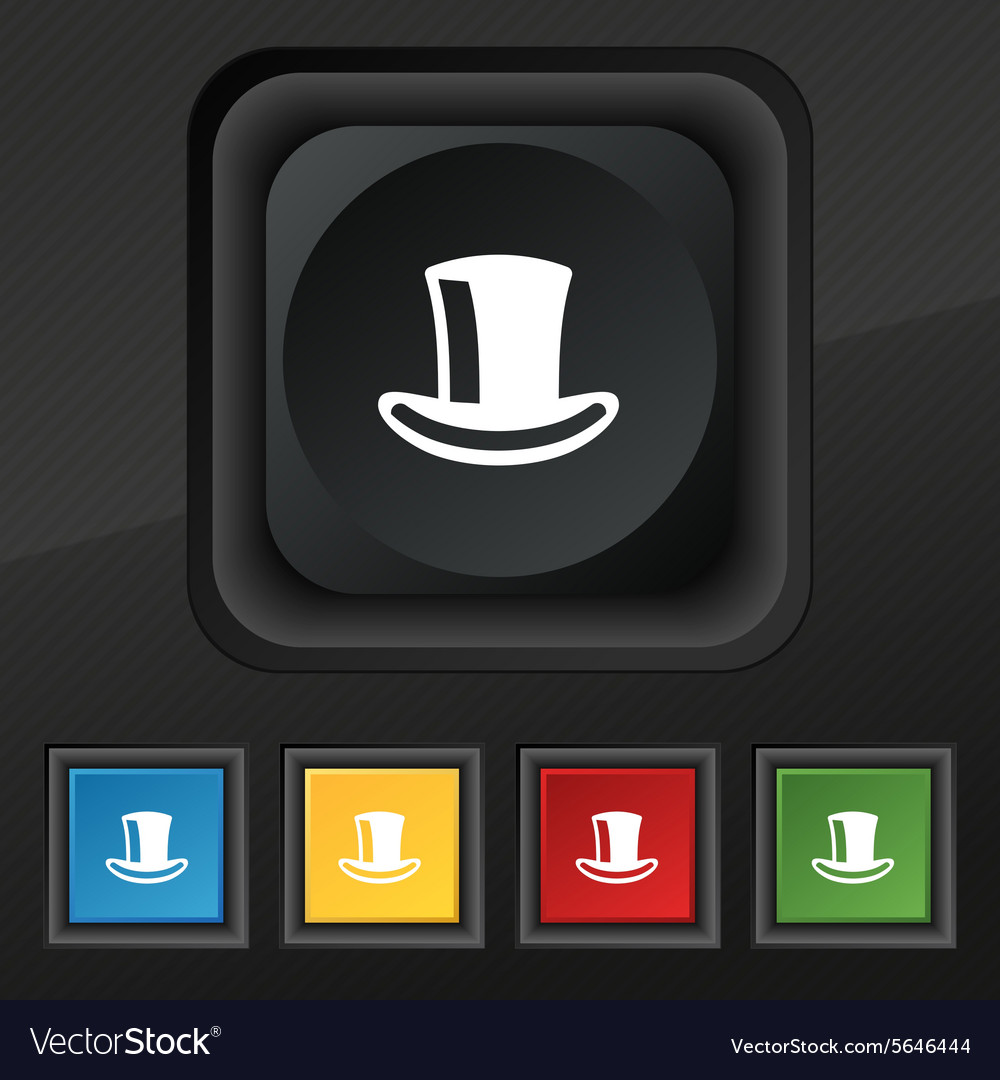 Cylinder hat icon symbol Set of five colorful