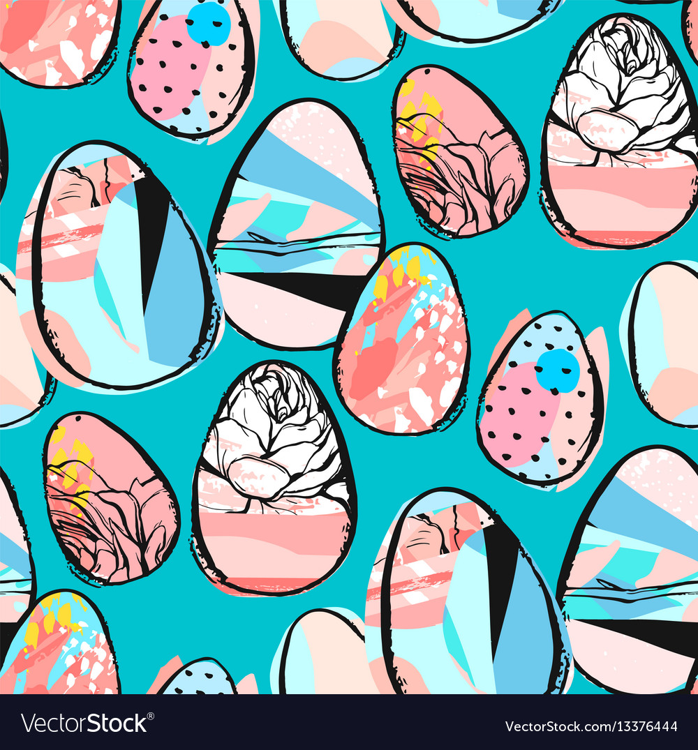 Doodle easter seamless pattern seamless vector image