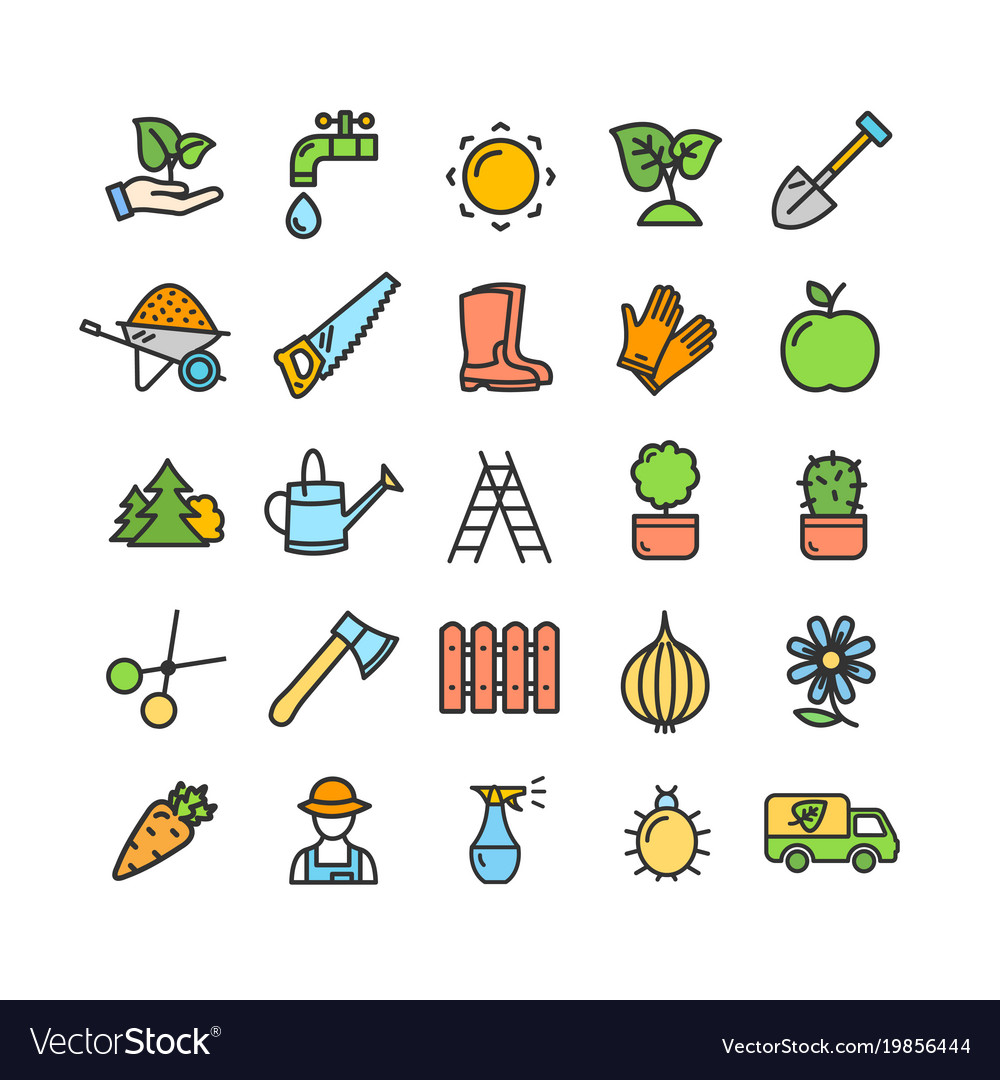 Gardening signs color thin line icon set