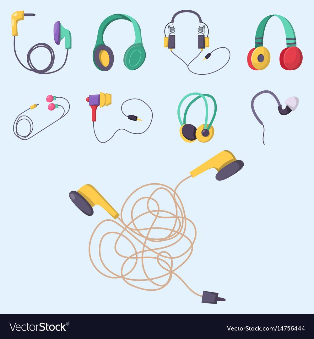 Headphones set music technology accessory vector image