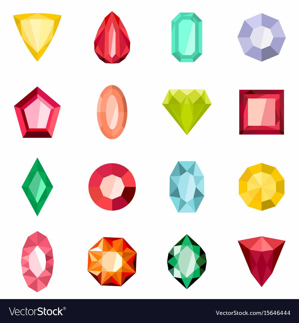Jewels set in cartoon flat stile