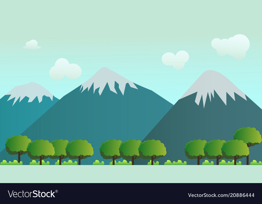 Nature landscape scene forest and mountain