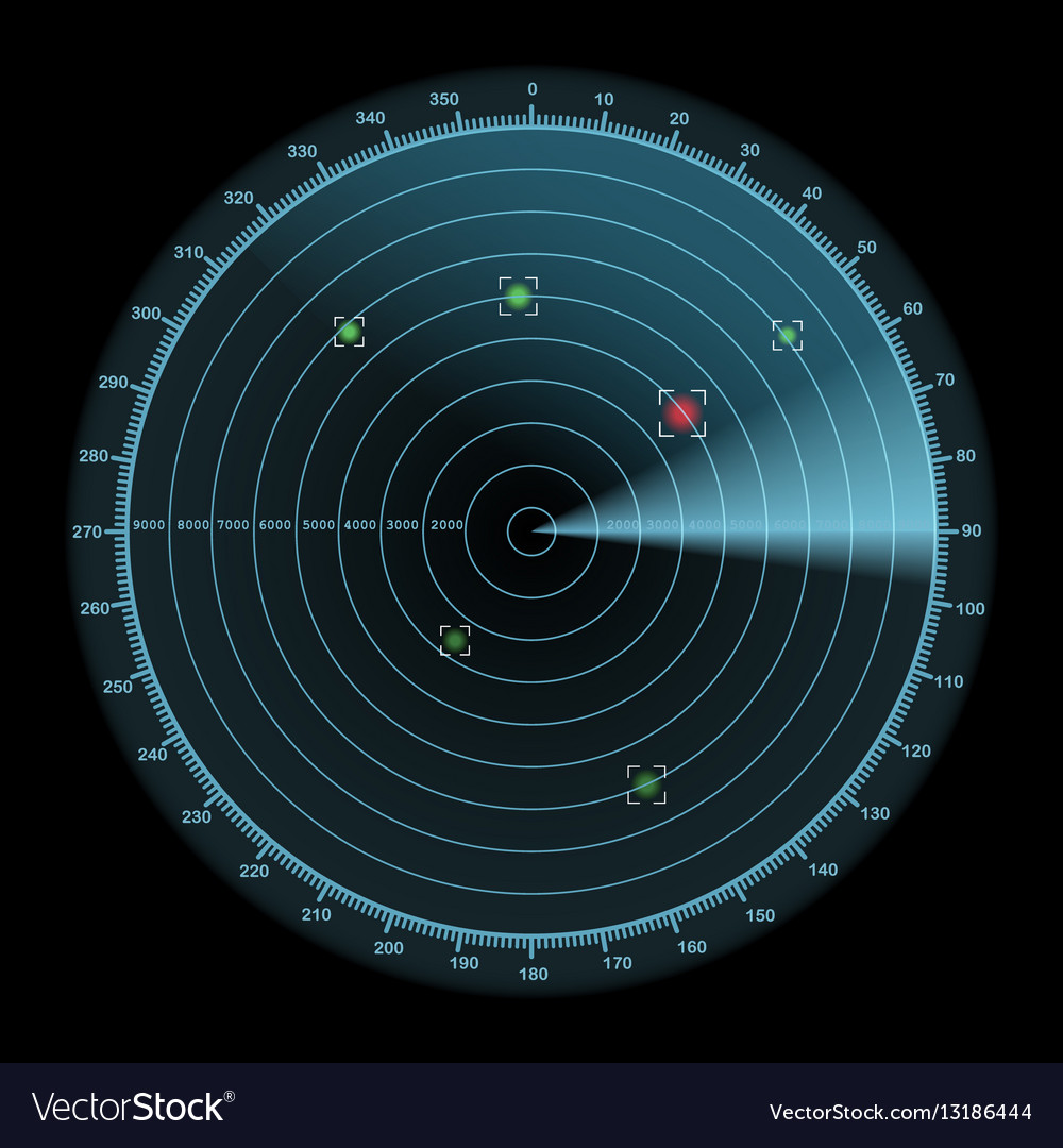 Radar display icon enemy detection concept vector image