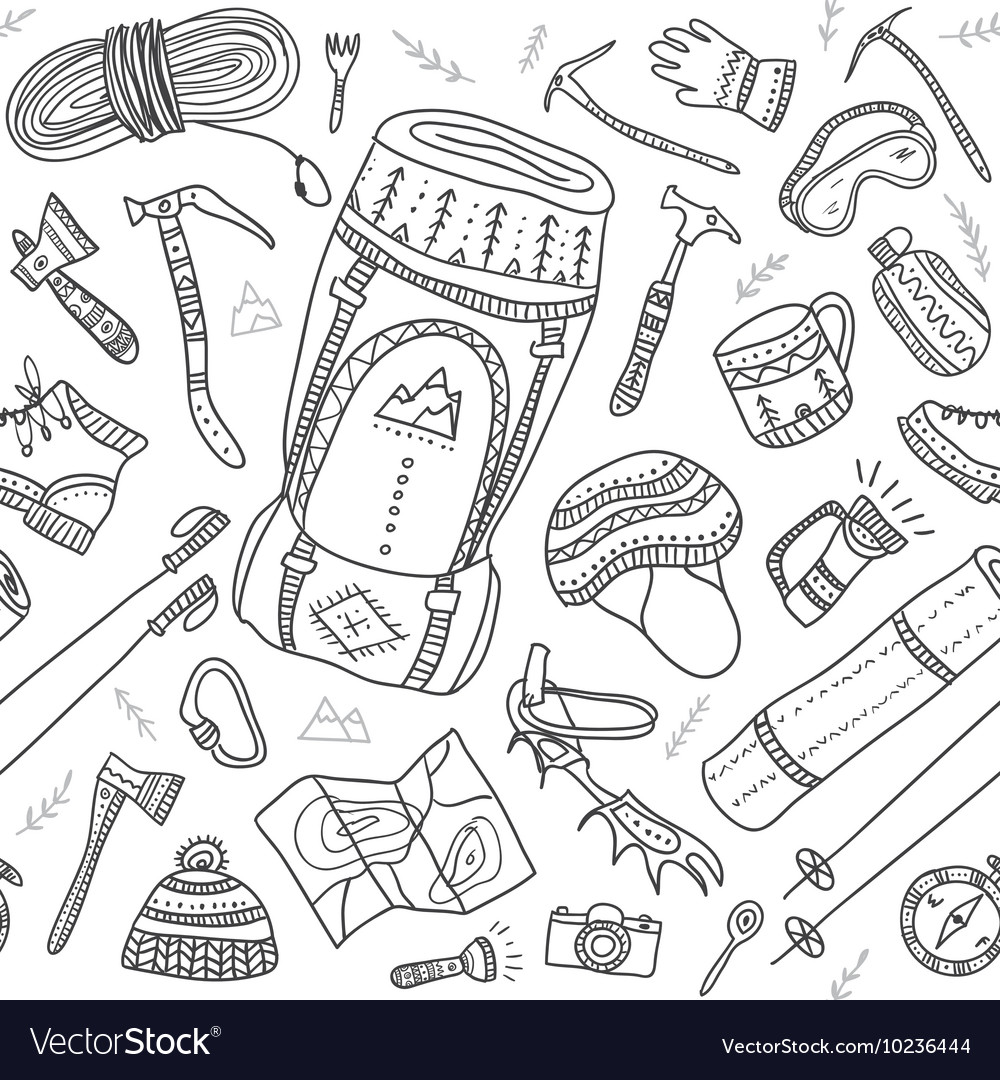 Seamless pattern of climbing equipment drawn in