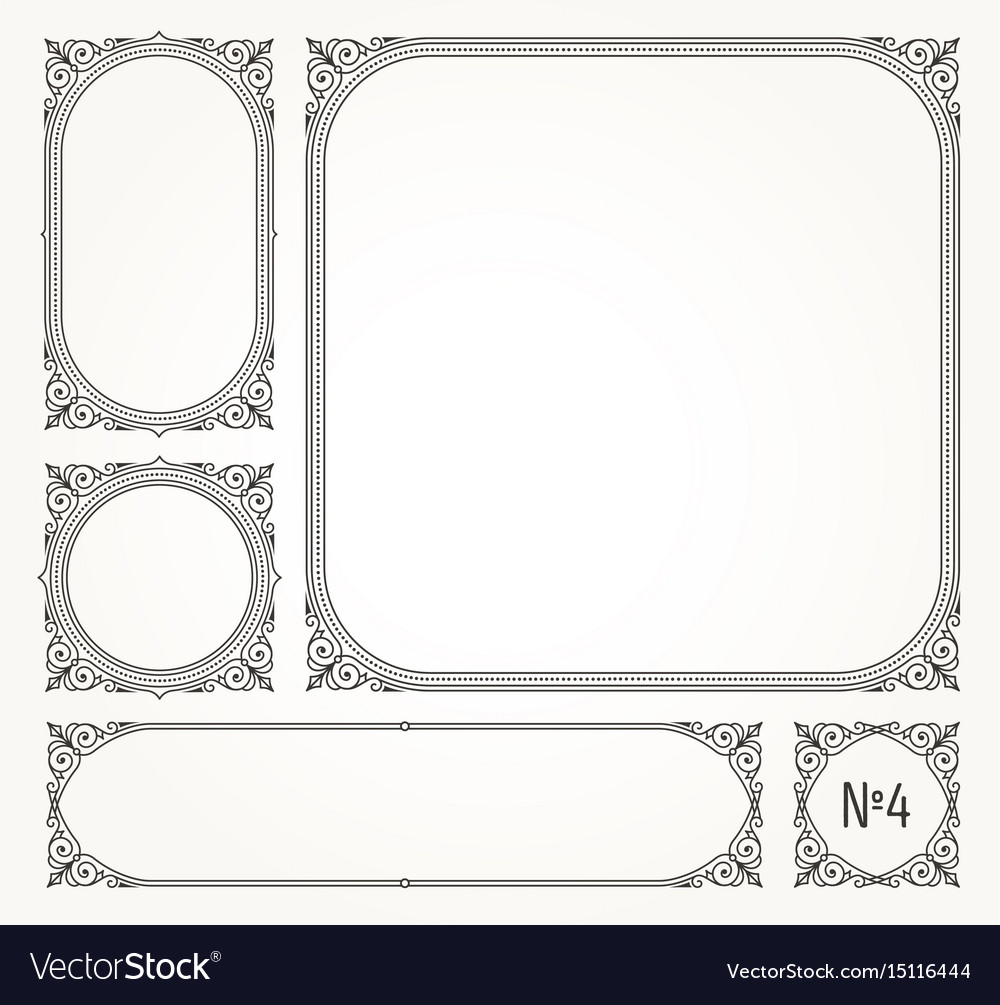 Set of flourishes calligraphic elegant ornamental