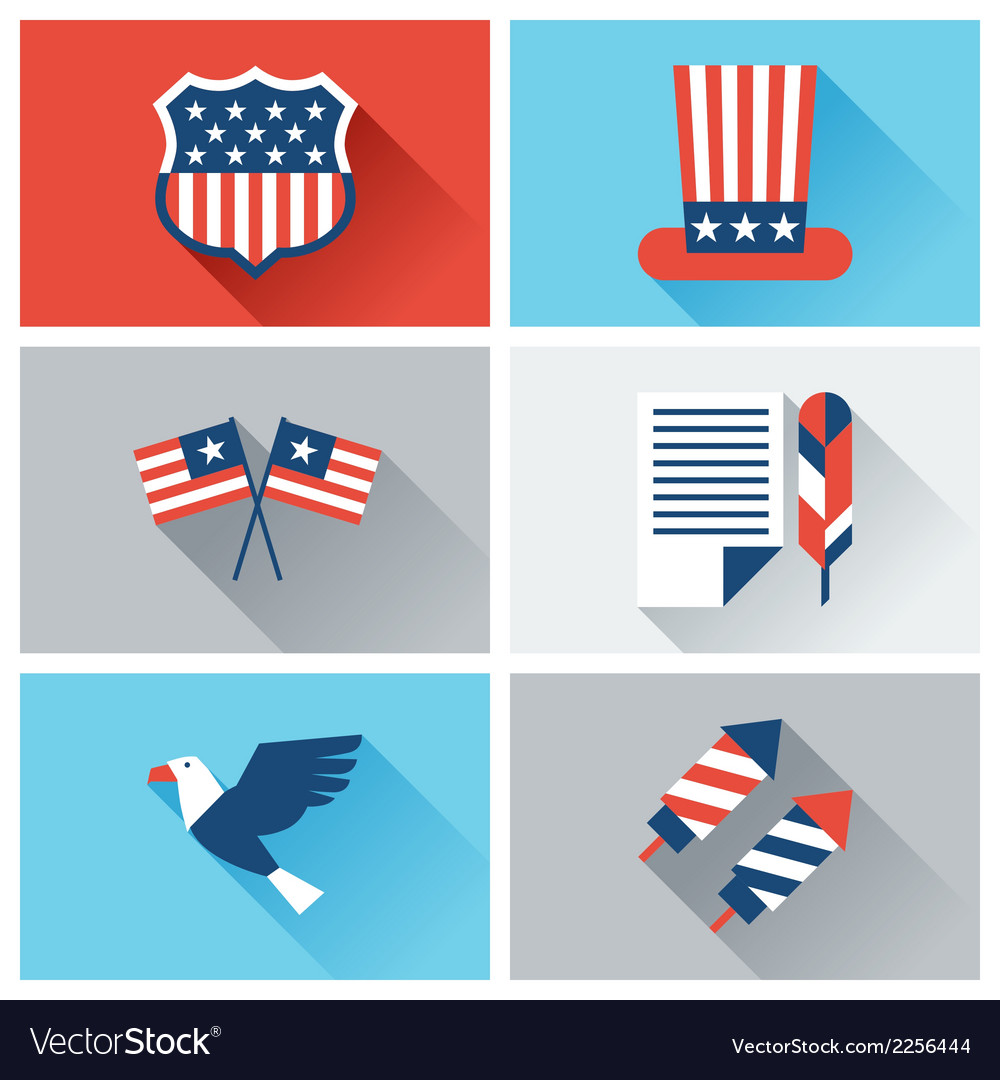 United States of America Independence Day icon set