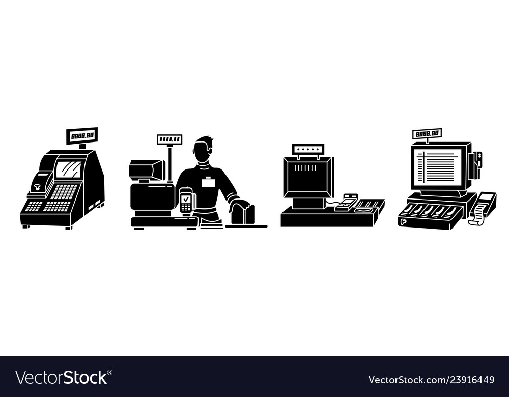 Cashier icons set simple style