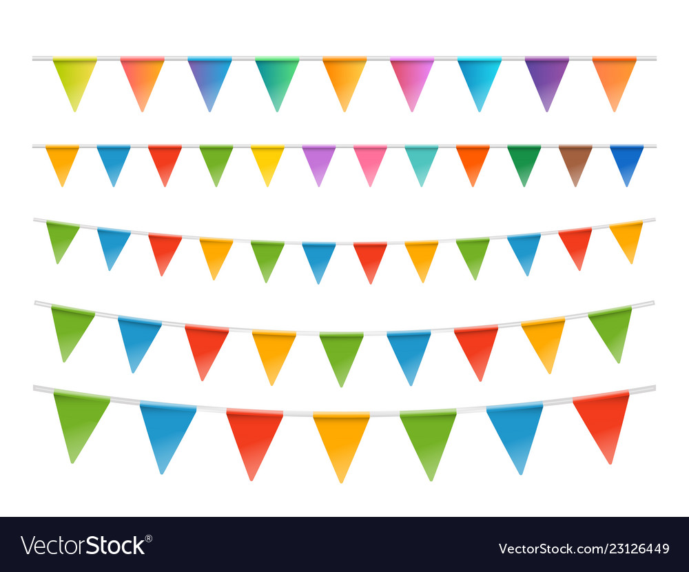 Color flags garland set isolated on white