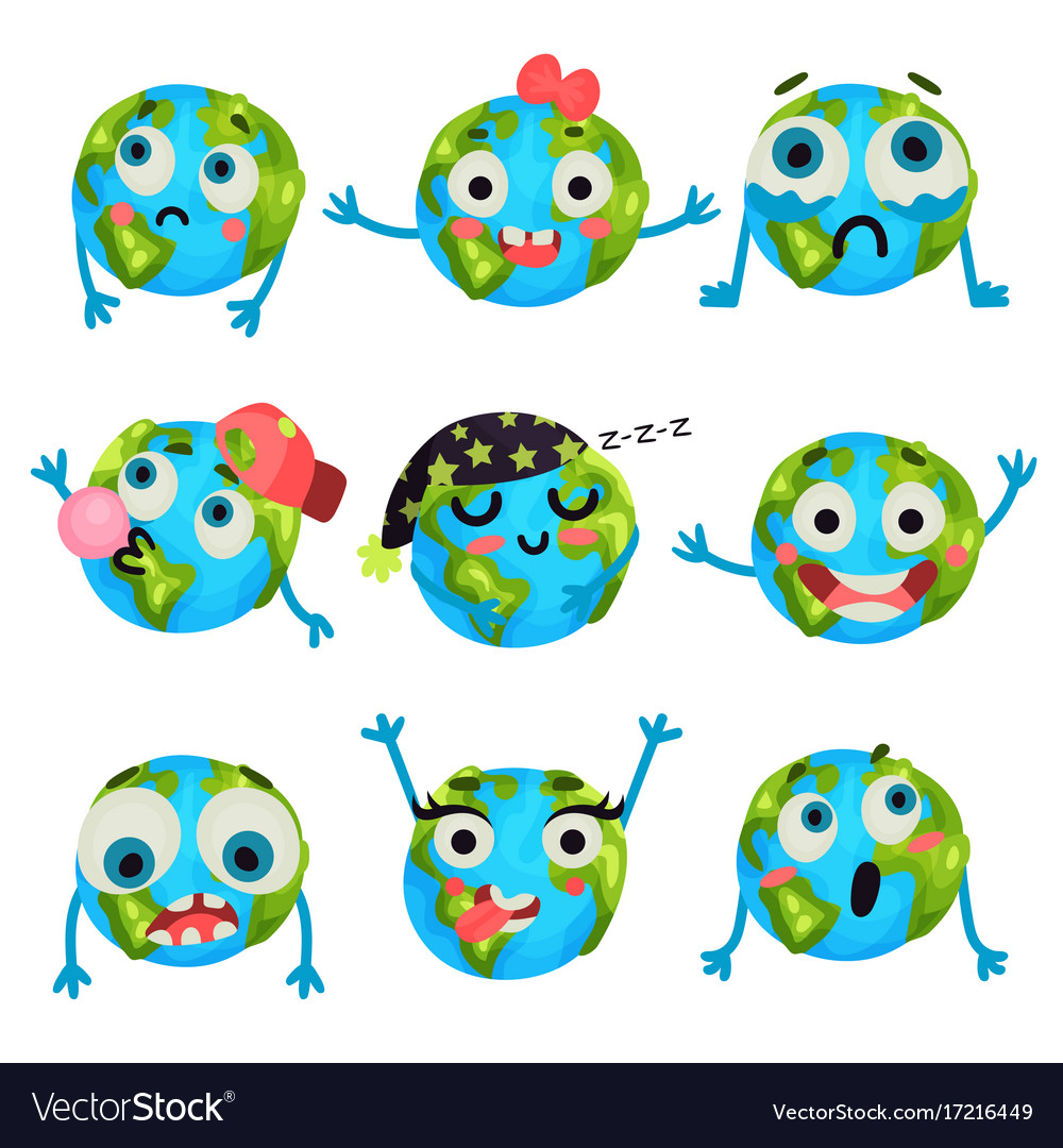 Cute funny earth planet emoji showing different vector image