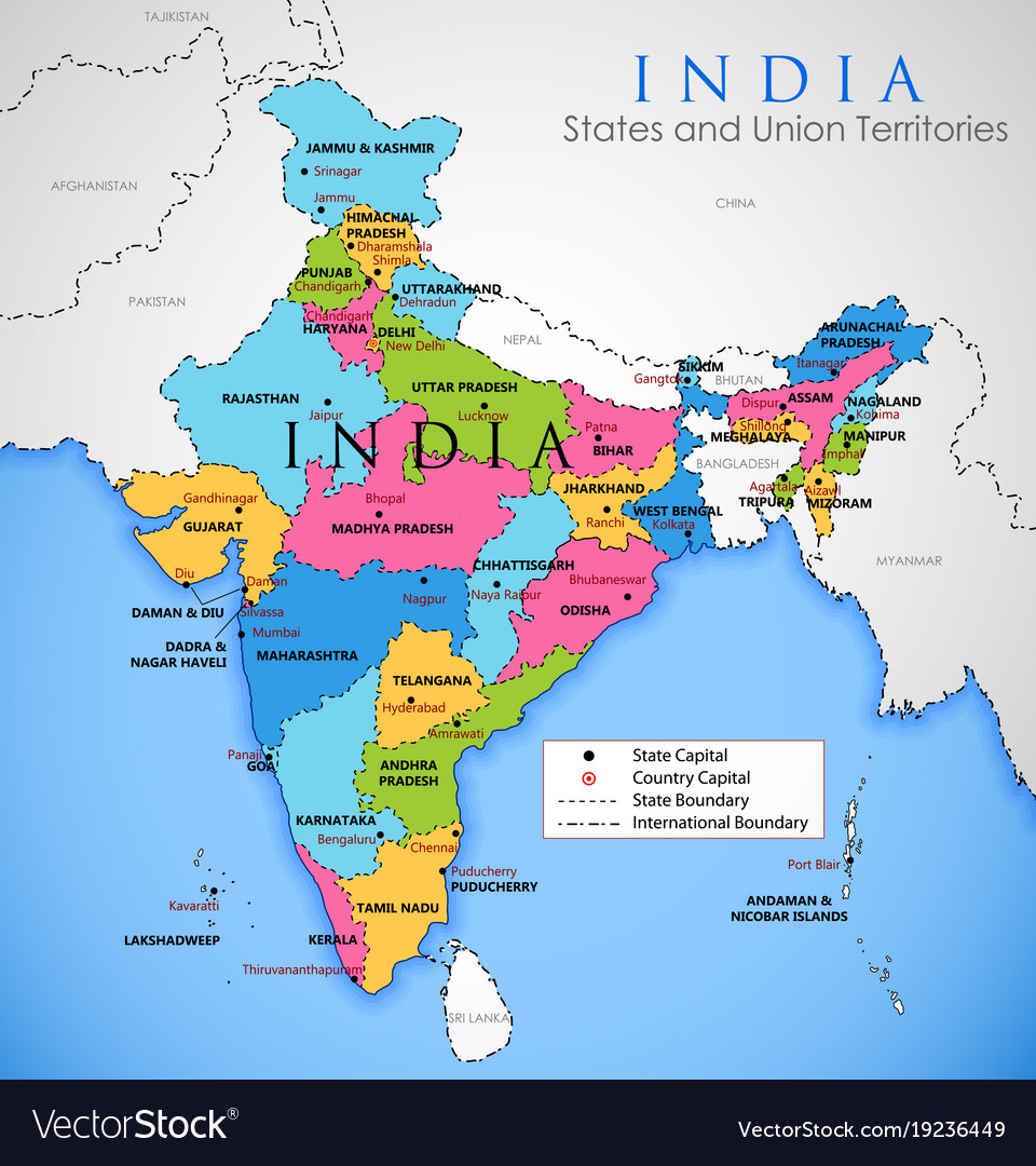 Map Of Asia India.Detailed Map Of India Asia With All States And Vector Image