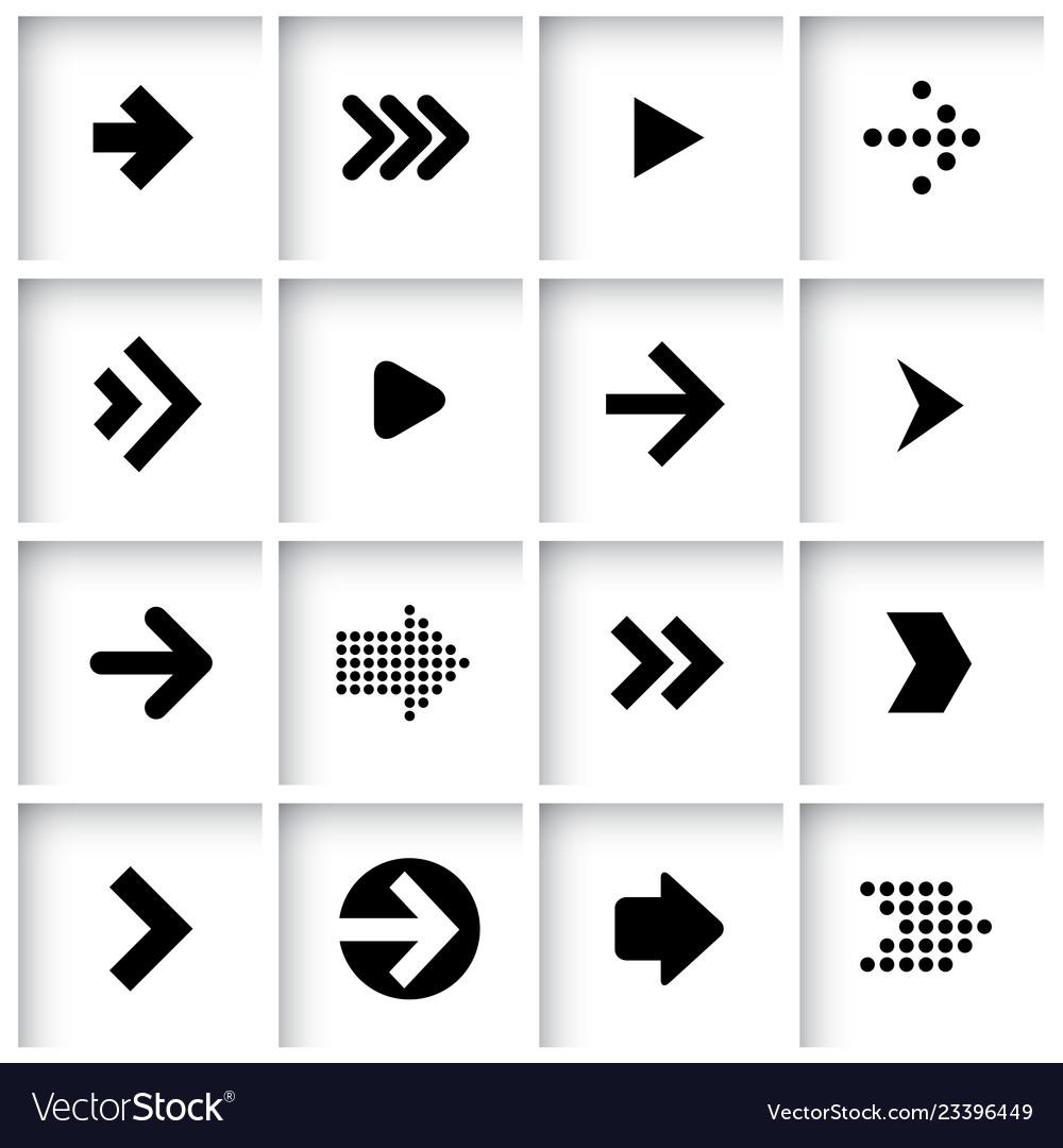 Flat design arrow icon set