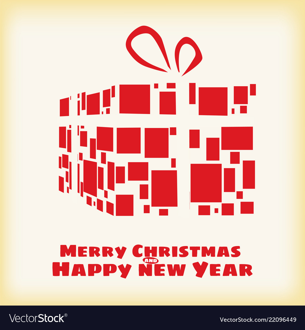Happy christmas and new year box gift stylized