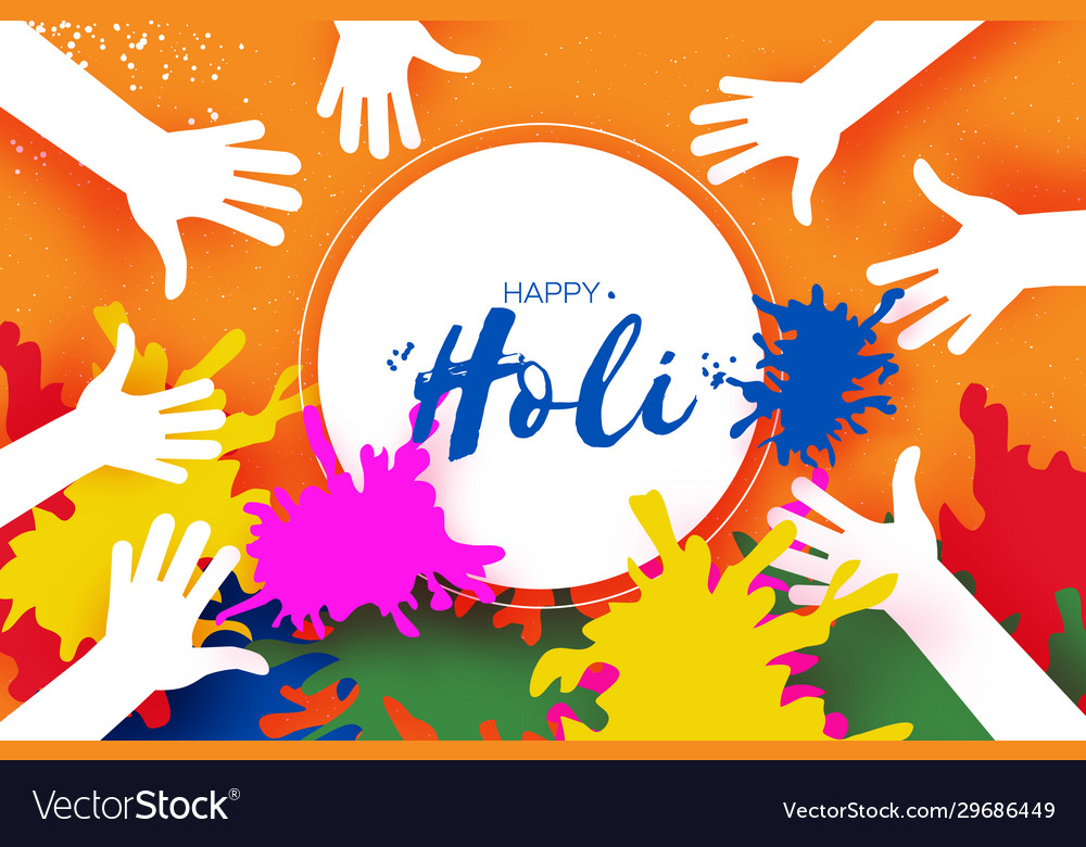 Happy Holi Festival Colors People Hands Royalty Free Vector