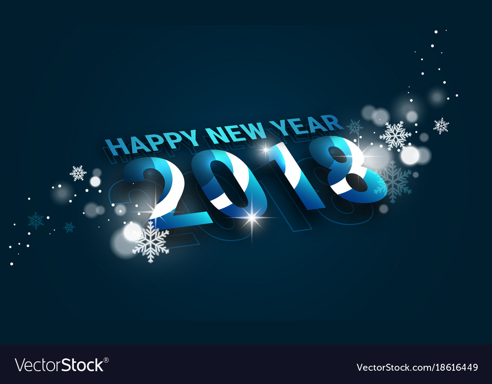 happy new year 2018 banner with perspective view vector image