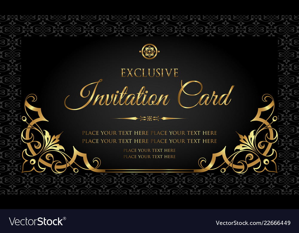 Categories Black And Gold Invitation Template