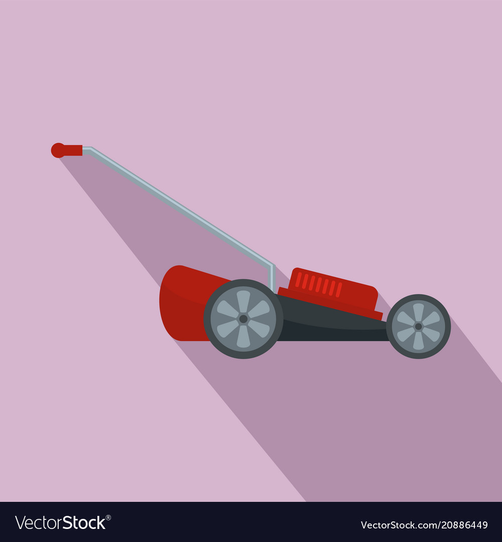 Red motor grass cutter icon flat style