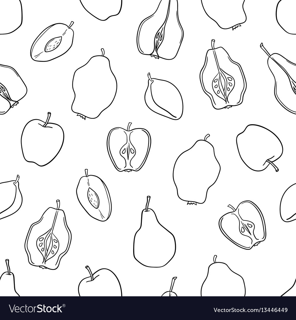 Seamless fruit pattern apples pears