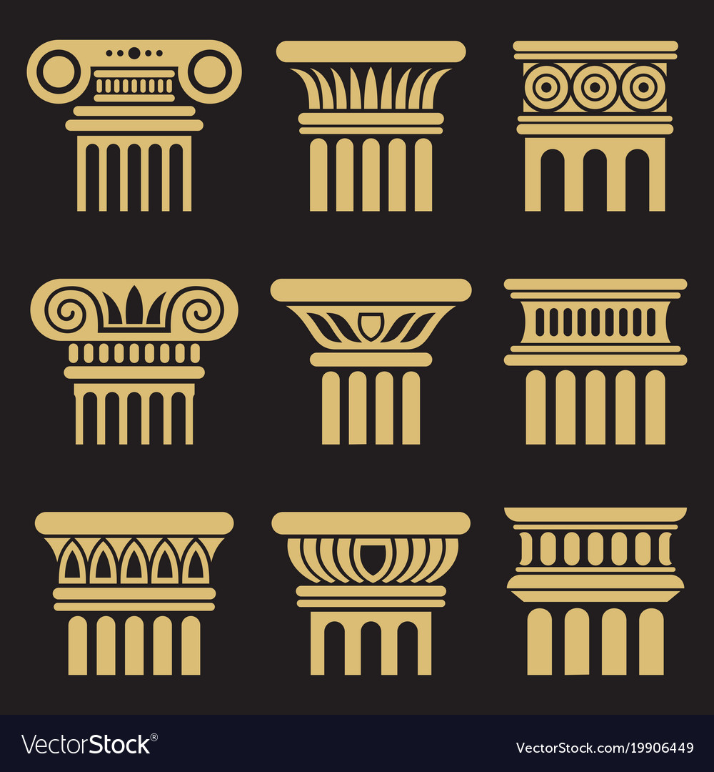 Set of ancient architecture column icons